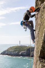 Dave Searle above South Stack lighthouse on North West Passage., 119 kb