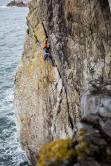 Dave Searle nearing the top of the first pitch of Gogarth, 172 kb