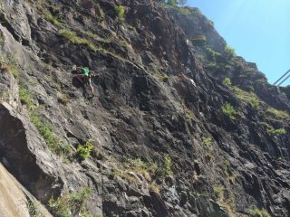 Edgar mantling to victory on the first(?) ascent of a line left of Study Leave.