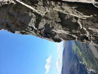 Chris Fisher on-sighting the classic Alpine Ringlet on Raven Crag
