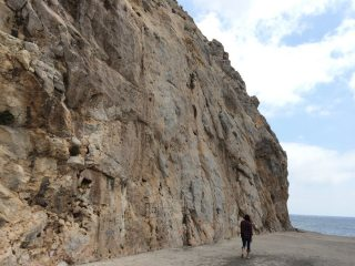 The main wall at Perissa looking towards the sea