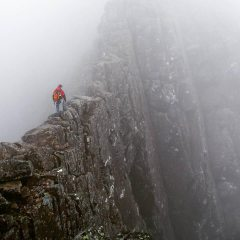 Eben Muse, approaching'The Gap', Tower Ridge