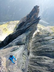 Exposed upper arete of the 6th and final tower, 139 kb