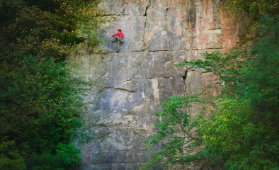 Mark Pretty onsighting Crustacean - 7a+, Goddard's Quarry, Stoney Middleton.
