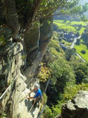 Dave on the final slab of Derision Groove