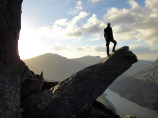 arty nonsense during afternoon descent from scramble on Tryfan's East Face