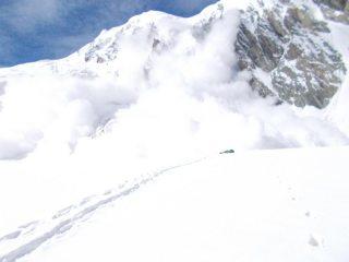 Running away from powder avalanche. Merzbacher glacier.