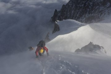 Craig and Matt descending the snow arete of the Midi en route for the Cosmiques Arete.  , 104 kb