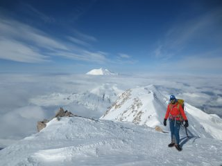 Kyle high on the West Buttress on Denali
