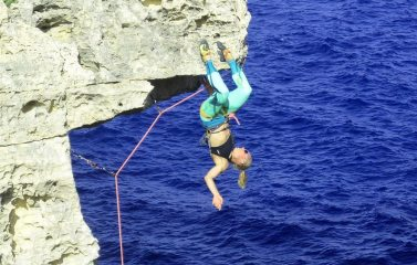 Way to go Marianne!  On the wildly exposed Outer Zone, F6a,  Wied il-Mielah in Gozo