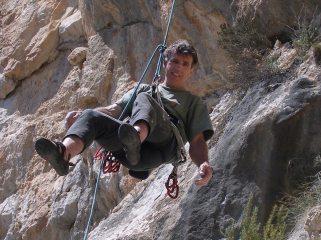 Ray Sharples lowering off Tufa Groove, Olta, Costa Blanca (April 2005)
