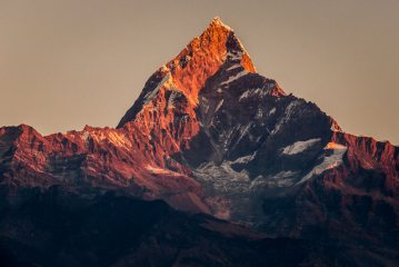 First Light Hitting Machupuchare/Fishtail - part of the Annapurna range of the Himalaya mountains in Nepal
