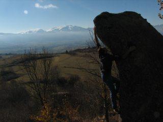 Pleasant winter bouldering in Targassonne.