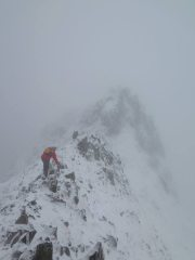 Crib Goch in near whiteout conditions