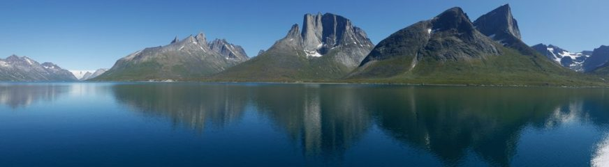 Tasermiut Fjord, Greenland. Heading into basecamp by boat.