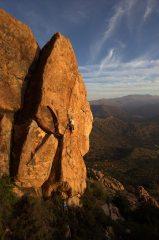 Ben Lister on Skyline at Robin Hood Rocks