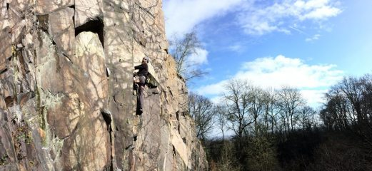 James on Holy Ghost 6b+ at hangingstone quary