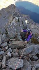 The last scrambling section on Cyfrwy arete