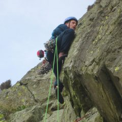 Mike on the crux of Sky Wall.