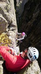 Finishing pitch 1 of Left Edge, although possibly slightly off route