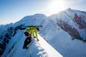 Joel Evans carefully traversing the knife-edge Bionnassay ridge in windy conditions, 238 kb