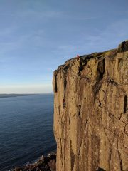 Rory following Saul up the second pitch on a sunny April evening., 110 kb