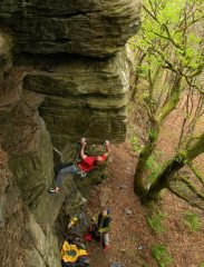 Will Calvert making the second ascent of Western Power