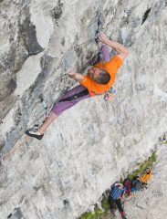 Steve McClure on Rainman, 9b, Malham Cove, N. Yorks.