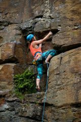Psyching myself up to head towards the crux of 'the tactless teacher' 6b at Tirpentwys