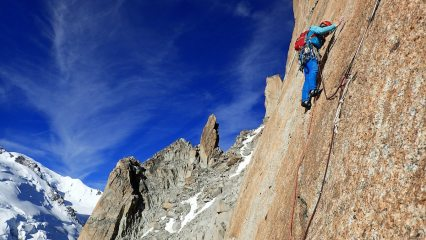Wendy leading the 'S' crack pitch of the Rebuffat-Baquet on the south face of the Midi