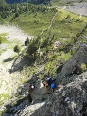 climbers enjoying via des evettes