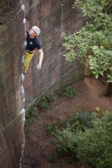 Tom Livingstone high up one of Nesscliffe's bold classics, 139 kb