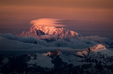 Mont Blanc at sunrise with lenticular clouds. Shot from the Weisshorn, 138 kb