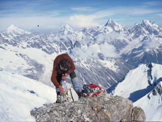 Summit of Sher Khan (19,324 feet) in Kishtwar Himalaya looking towards Brammah I and Sickle Moon.