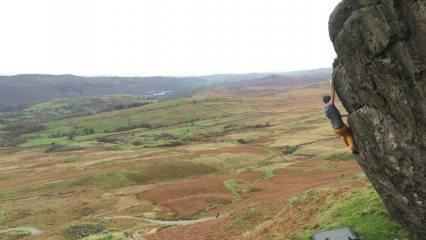 Pete Climbing Walna Whip, Coniston, UK