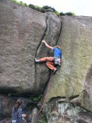 The classic pose of 'Slippery Jim' at The Roaches