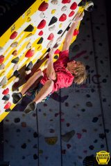 One point of contact. Alex Megos powers to the finish of another problem in the Moonboard Masters comp., 80 kb