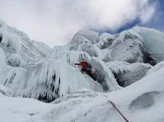 Second pitch of Ice Screw (III). We were forced left into the corner due to unformed ice, providing some tricky bridging moves.