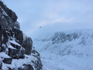 Mountain Rescue Chopper just before sundown at Lurcher's