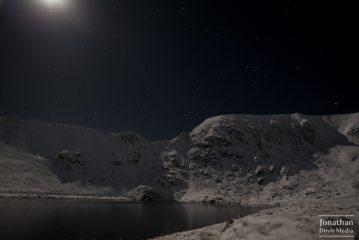 The headwall of Helvellyn under moonlight