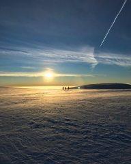 Sunrise skinning on Aonach Mor.