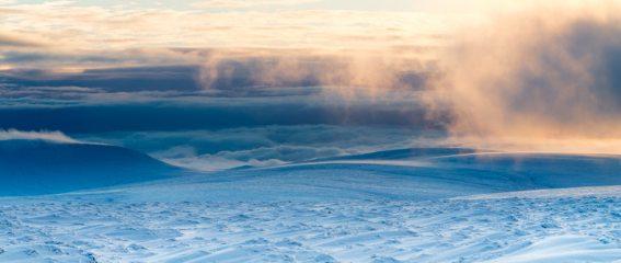 Descent off Bleaklow at sunset.