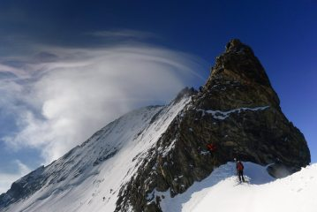 Start of the Barre des Ecrins West Ridge
