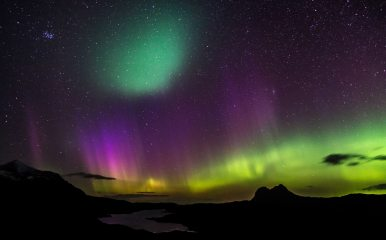 The Aurora from above Elphin looking over to Suilven and Cul Mor