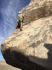 Just below the crux on SW Corner - do not look down while here!