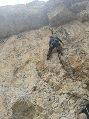 Andrew leading the crux pitch of Vinatzer
