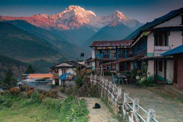 Sunrise on Annapurna South from Landruk