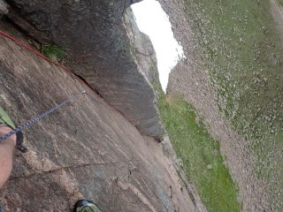 Pitch 2 of The Dagger from near the hanging belay. Dry and delightful.
