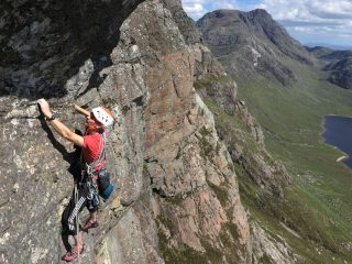 Day four in Fisherfield. Rafe on the crux traverse