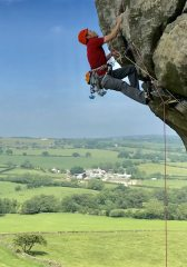 David Barlow climbing Western Front (E3 5c) at Almscliffe